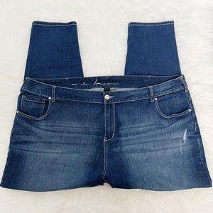 LANE BRYANT blue distressed skinny jeans